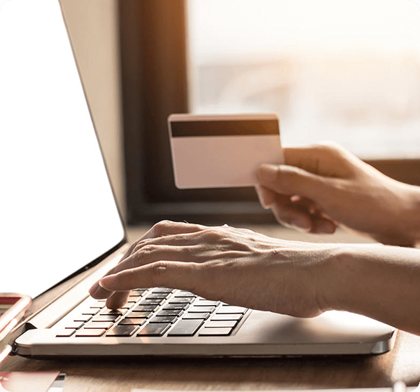 woman on laptop making payment